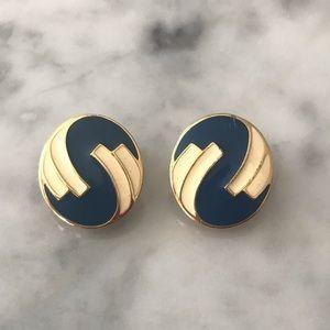 Vintage Monet Blue Cream Gold Tone Round Earrings